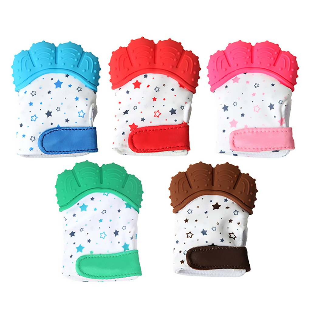 New Silicone Baby Glove Teether Pacifier Teething Wrapper Sound Mitten Nursing