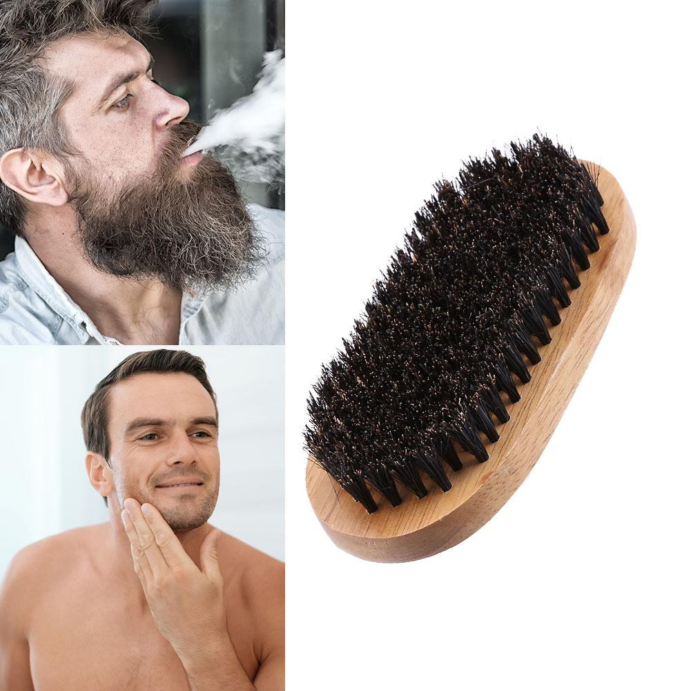 1 Pcs Multi-use Bristle Wooden Handle Facial Hair Comb Beard Brush Bath Cleaning Brush Wood Beard Brush Washer Cleaner Shaving & Hair Removal