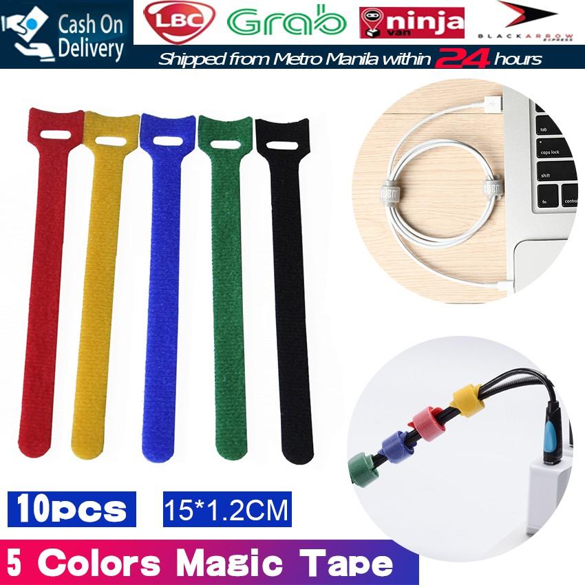 bbfa4113a57f 10x Nylon Velcro Cable Ties Wire Strap cord Wrap Fastening   Shopee  Philippines