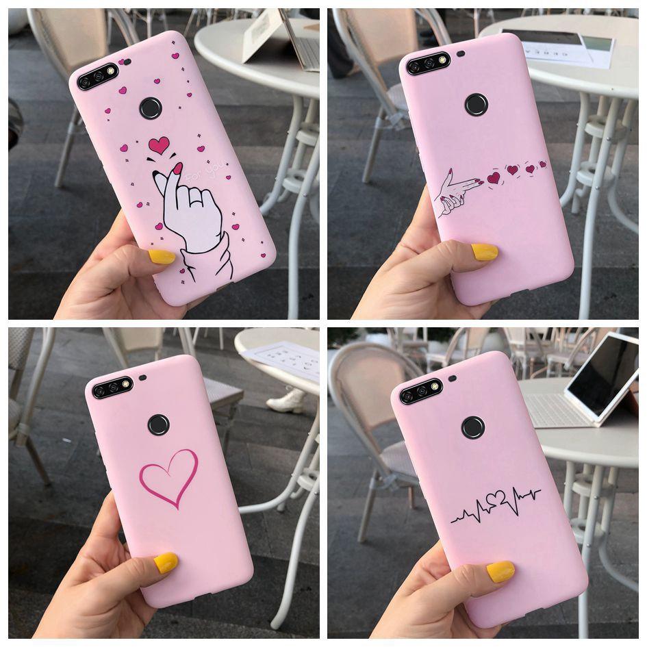 Heart Casing Huawei Nova 2 Lite / Y7 Prime 2018 Case Soft Cover Huawei Nova 2 Lite Cute Cartoon Couples Phone Case
