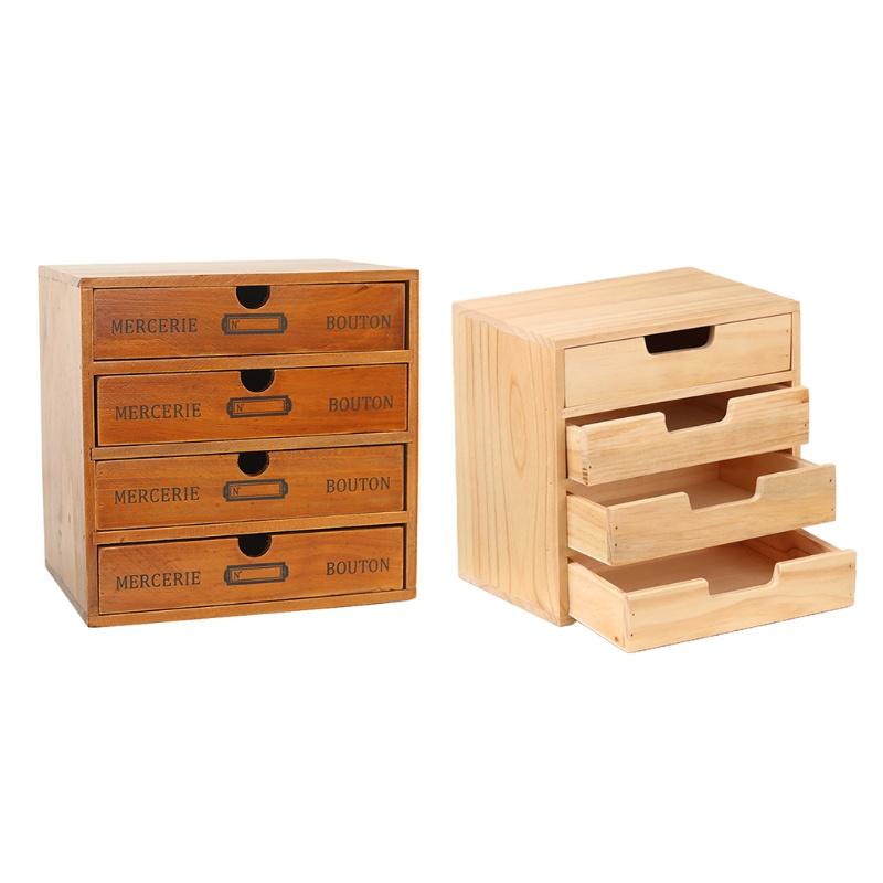 Spt Wooden Retro 4 Tier Drawer Storage, Desktop Drawers Wood
