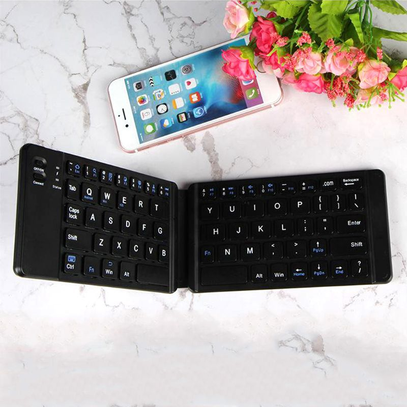 Aluminum Alloy HoMei Foldable Bluetooth USB Keyboard Ultra-Slim Portable Wireless Wired Keyboard Built-in Rechargeable Li-Polymer Battery For IOS Android Windows Silver