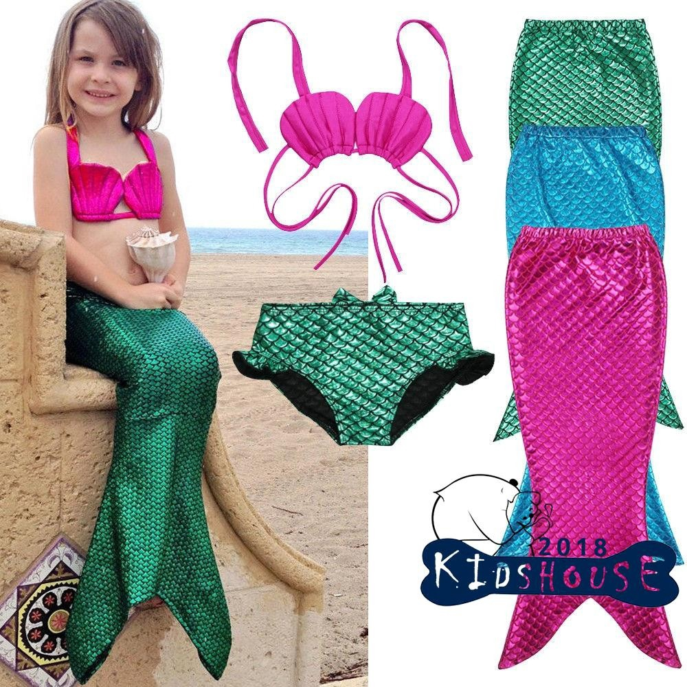 72c8ee90b4 ProductImage. ProductImage. S18-3PCS Girl Kids Mermaid Tail Swimmable Bikini  Set