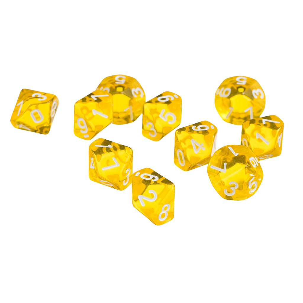 Orange Ten Sided Gem Dice For RPG Dungeons /& Dragons Games Set of 10 Dice
