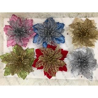 Christmas Flower Decorations.12pcs Christmas Flower 15cm One Dozen One Color