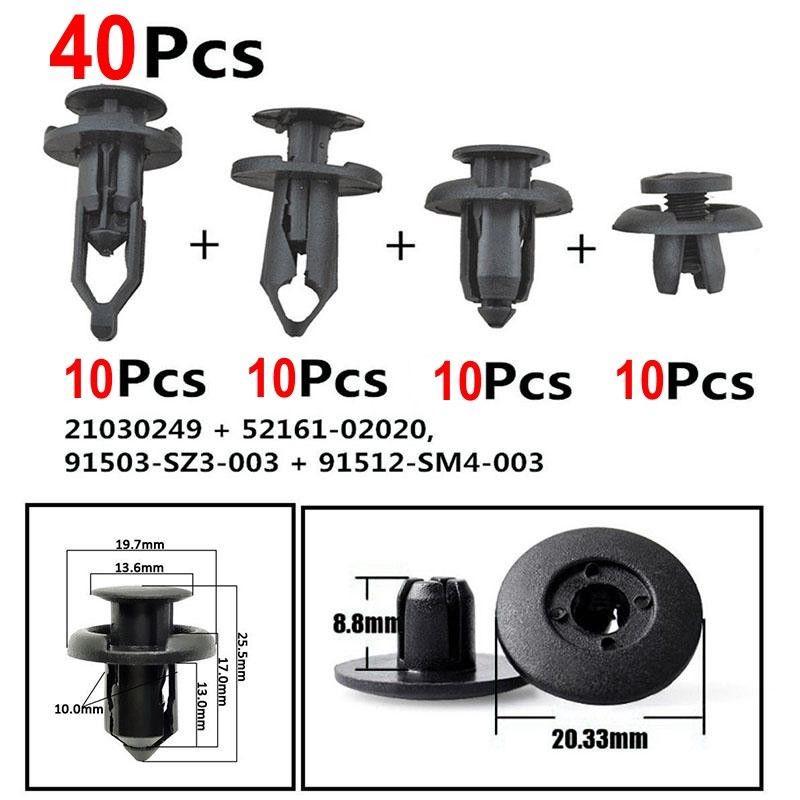 20 X Nylon Push Bumper Fastener Rivet Retainer Pin Clips For Honda 91503-SZ3-003