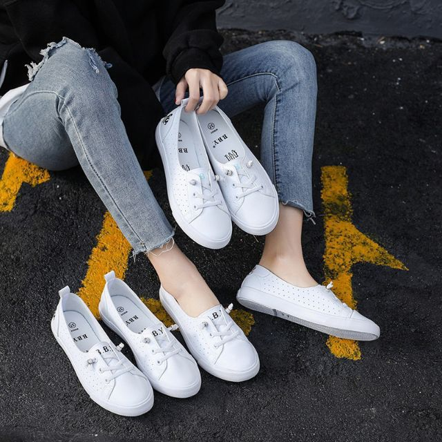 QQS 2020 Low cut leather flat korean version of the small fresh students
