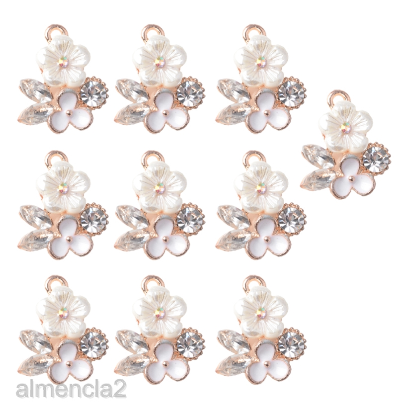 10x Decorative Craft Pearl Buttons Alloy Charms Flatback Pearl Embellishment