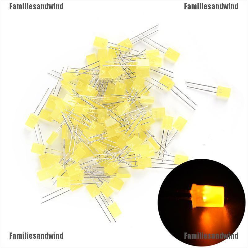 100pcs Rectangular Square LED Emitting Diodes Light Bulbs Yellow//Red//Blue//GreenT