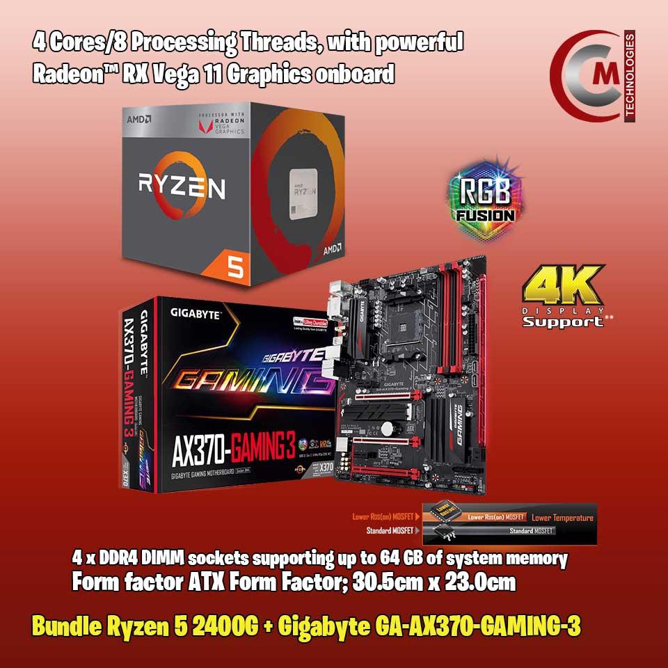 Bundle: AMD Ryzen 5 2400G + Gigabyte GA-AX370-GAMING-3