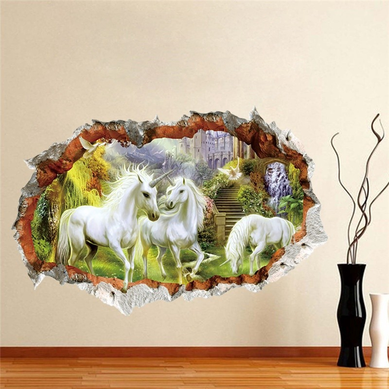 3d Effect Against The Wall Of The White Horse Wallpaper Shopee