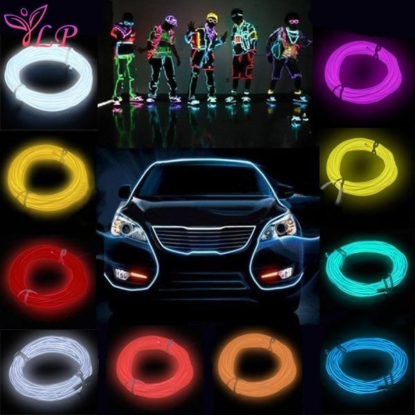 1pc 3m Flexible El Wire Tube Rope Battery Powered Flexible Neon Light Car Party Wedding Decoration With Controller Lights & Lighting