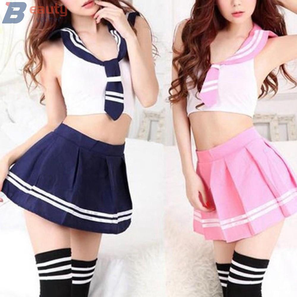 Ladies Cosplay School Girl Students Sailor Uniform Costume Halloween Women Tops