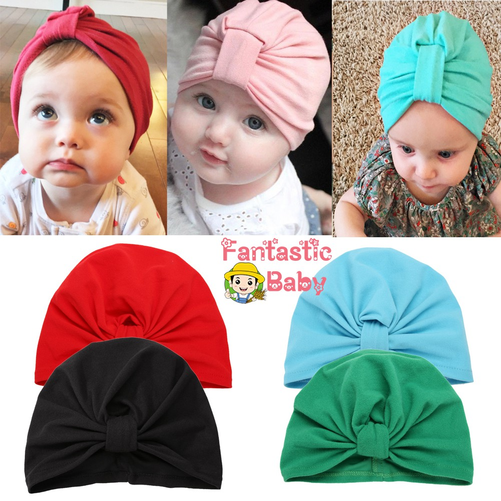 Cotton Beanie Newborn Baby Knotted Hat Boys Girls Soft Cap Infant Toddle Cute/</>