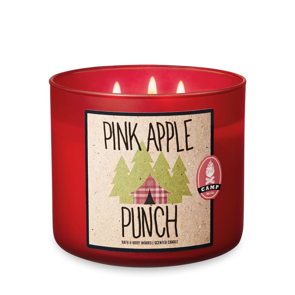 Bath /& Body Works Scented 3 Wick Candle 14.5 Oz PINK APPLE PUNCH