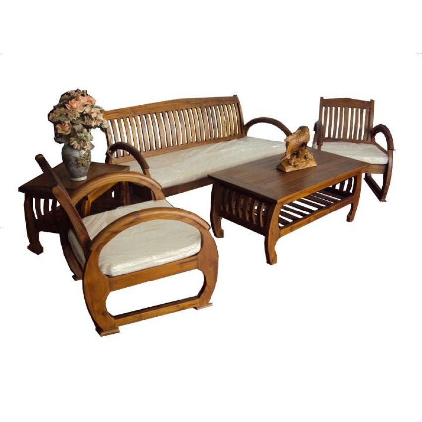 Solid Teak Wood Sedan Sofa Set