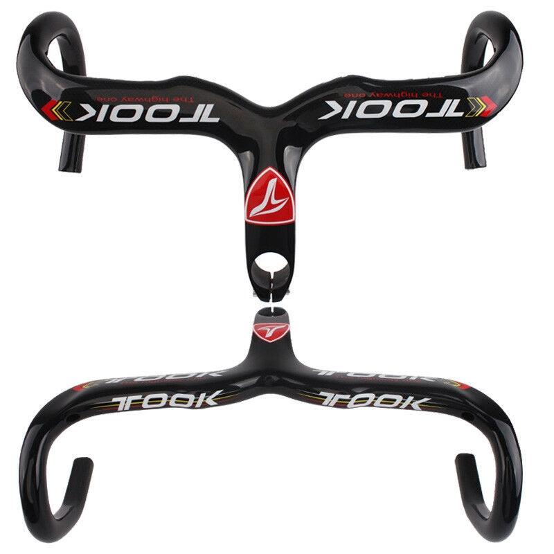 TOSEEK Carbon Fiber Road Bike Integrated Handlebar Stem 400//420//440mm Drop Bar
