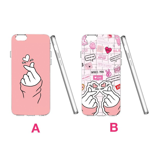 Finger Heart/Kpop 2D Full TPU Clear Case Mobile Case iPhone