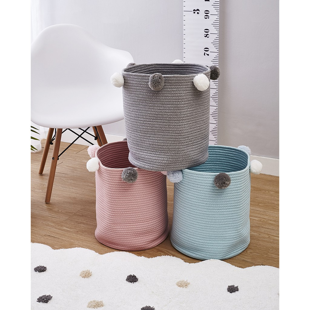Cotton Rope Basket Pink For Baby Nursery Room Cute Kids Laundry Hamper Blanket Basket Toy Chest Soft Bottom Woven Basket Shopee Philippines