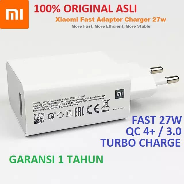 Xiaomi Charger Adapter 27w Turbo Charge Fast Charging Qc 4 + Mdy-10-El | Shopee Philippines