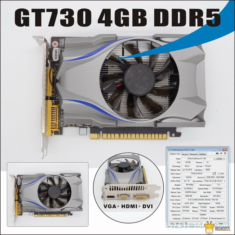 【COD】 GT730 GDDR5 4GB 128Bit Gaming Video Card Graphics Card With A Cooler  Fan For NVIDIA GeForce