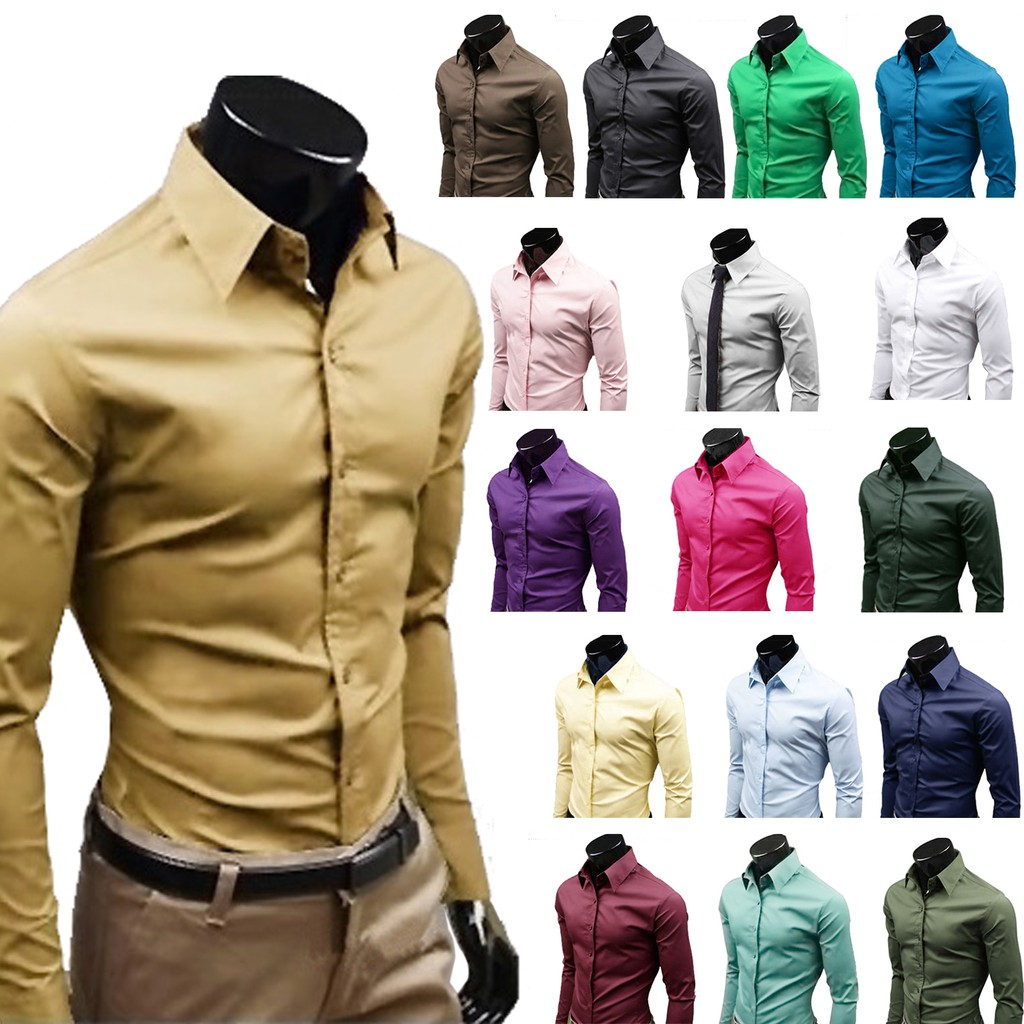YUNY Men Basic Cotton Button Business Long-Sleeve Solid Slim Shirts 5 M