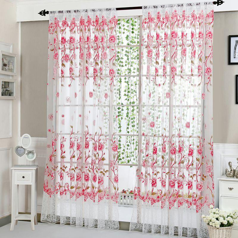 Fashion Pastoral Style Window Pattern Curtain Home Decration