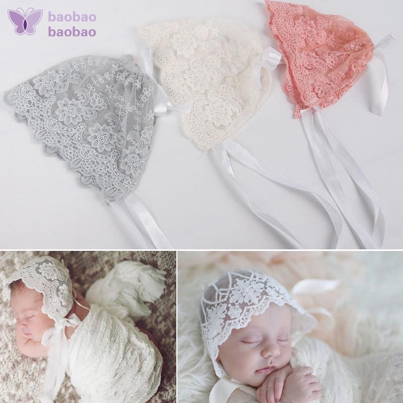 40b9594c9 Cute Newborn Soft Baby Lace Hat Bandage Cap Bonnet Infant Photography Props  UK