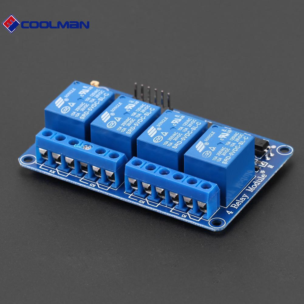 5PCS 5V Four 4 Channel Relay Module With optocoupler For PIC AVR DSP ARM Arduino