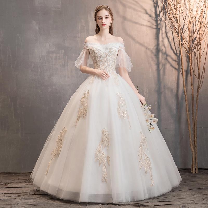 Off Shoulder Wedding Dress Satin V Neck Ball Gown Simple Formal Women Bridal Wedding Gown