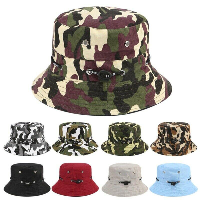 Bucket Hat Cap Cotton Fishing Boonie Brim Sun Safari Military Summer Men Camping