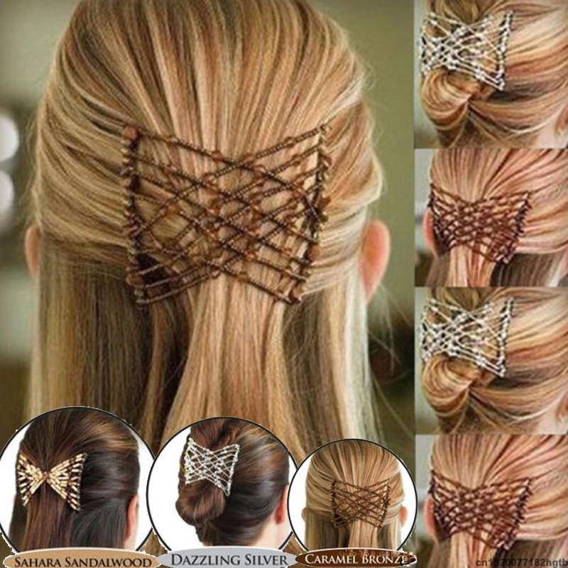 Handmade Double Hair Comb Magic Beads Elasticity Clip Stretchy Hair Combs Clips