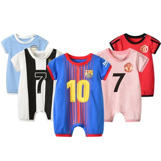 newest 8ebbb 4edc2 ✤♧Summer new baby clothes soccer uniform jumpsuits messi ...