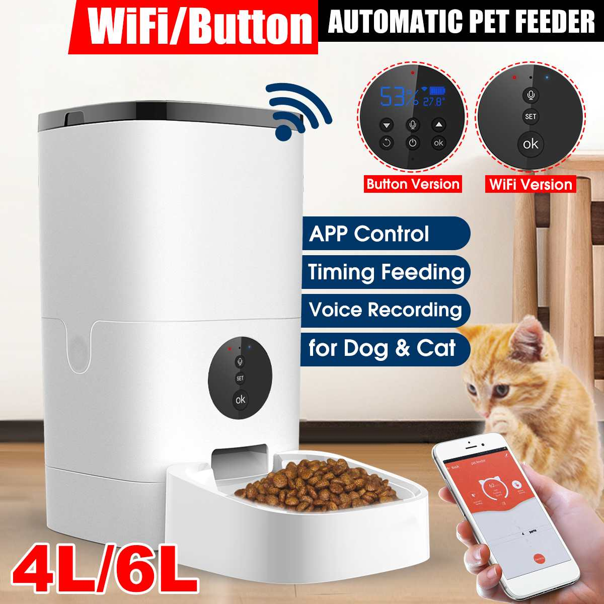 Wifi Button Version 4l 6l Automatic Pet Feeder Smart Cat Dog Food Dispenser Remote Control App Shopee Philippines