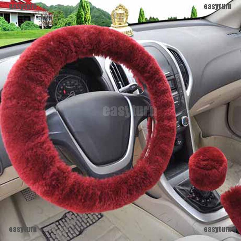 Universal 3Pcs Fur Wool Furry Fluffy Thick Car Steering Wheel Cover Red Wine
