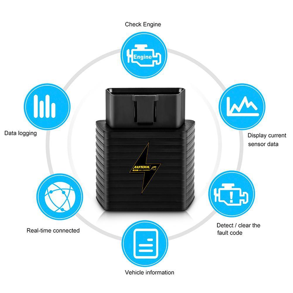 (Ele)AUTOOL A5 ELM327 Bluetooth OBD2 OBDII Car Diagnostic Tool for Android  iOS