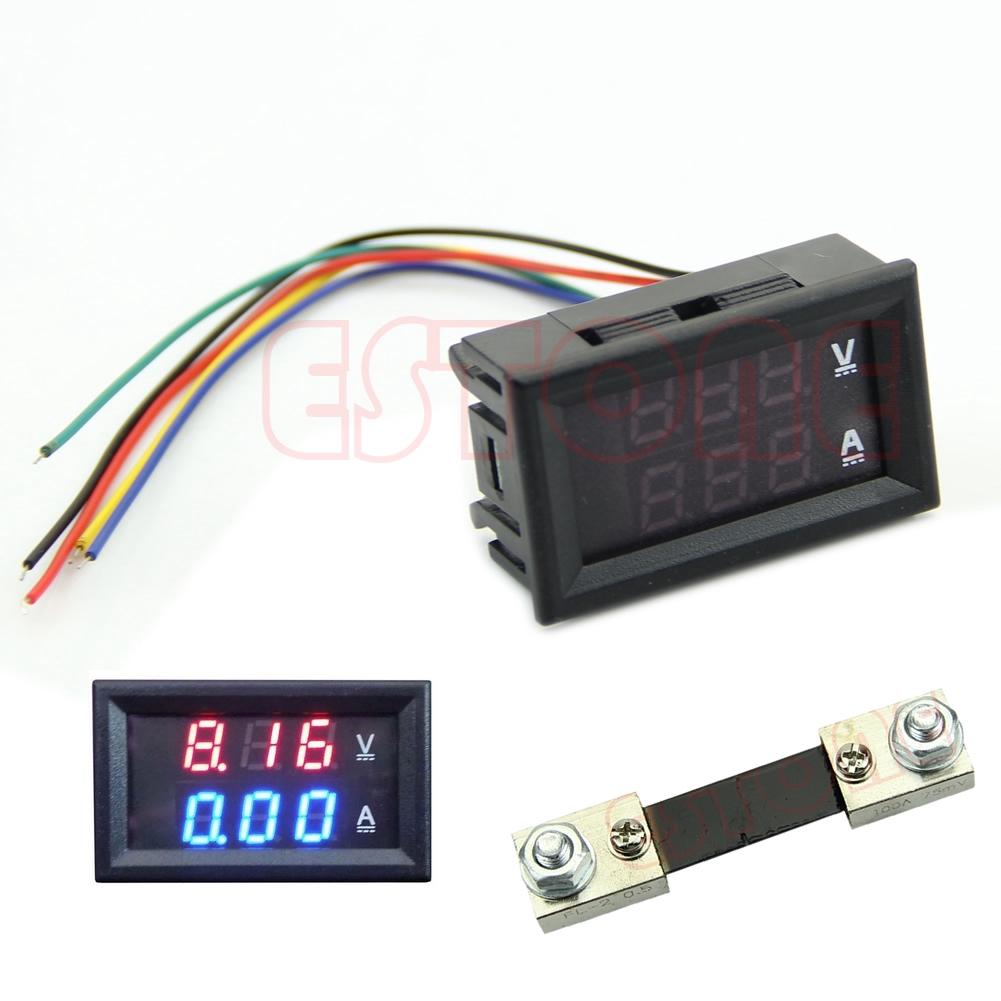 Quu New Dual Led Dc 100v 100a Digital Voltmeter Ammeter Amp Volt Meter Current Shunt Shopee Philippines