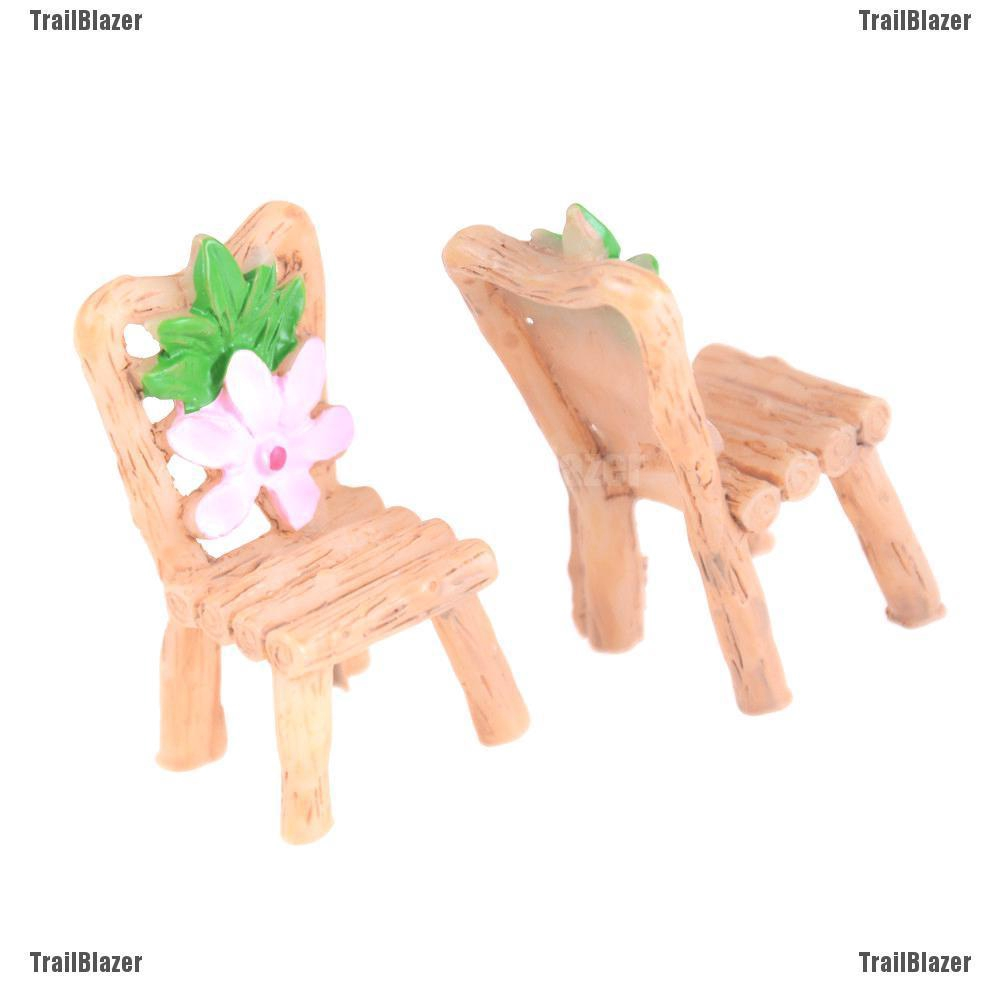 Floral Table Chairs Miniature Landscape Fairy Garden-Decoration Dollhouse A Ef