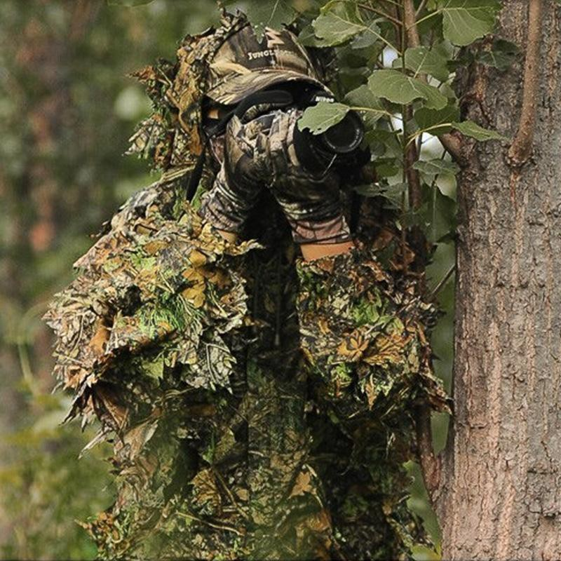 04b18f475114a 3D maple leaf Bionic Suits sniper birdwatch Camouflage Clothing jacket+pants  | Shopee Philippines