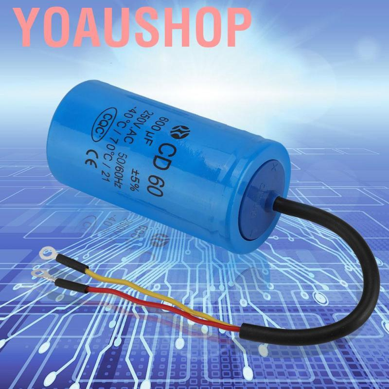 60Hz Capacitor Tester with Wire Lead,for Air Conditioners,Compressors and Motors CD60 600UF AC 250V Run Capacitor,Round Capacitor 50