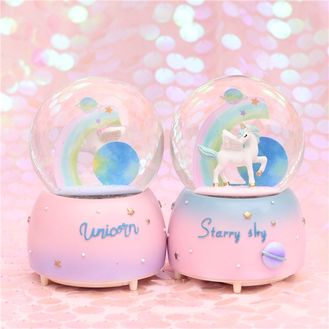 Musical Snow Globe in Pink 33 cm 2-mins-music