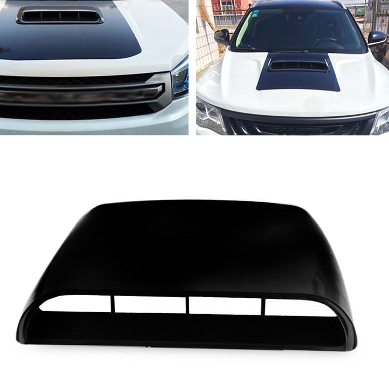 Pair Car BLACK Decorative Air Flow Fender Intake Hood Scoop Vent Bonnet Cover