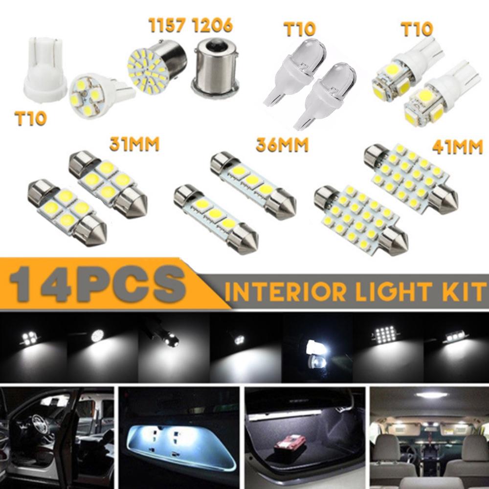 14pcs Car White LED 1157 T10 31 36mm Interior Map Dome License Plate Light Kit