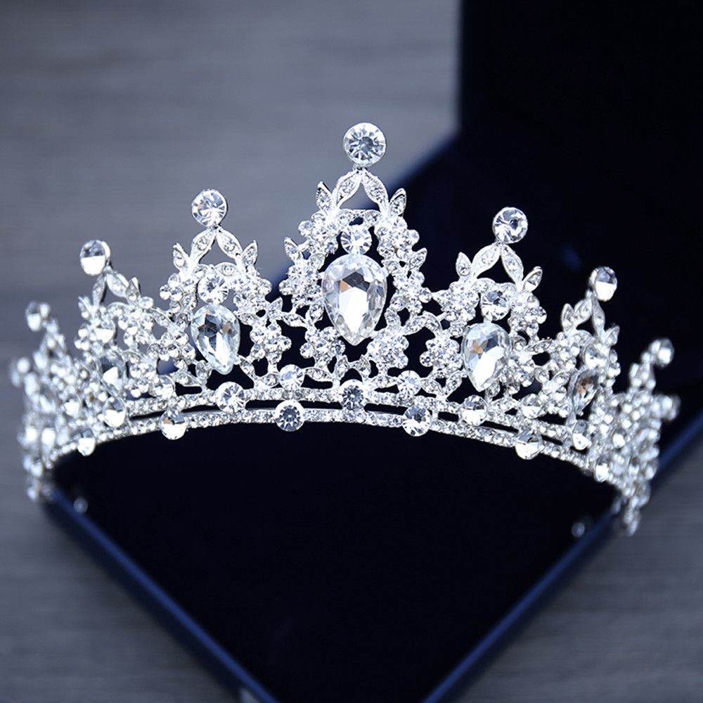 Clear Austrian Rhinestones Queen Elizabeth II Royal Female Silver Crown Tiara