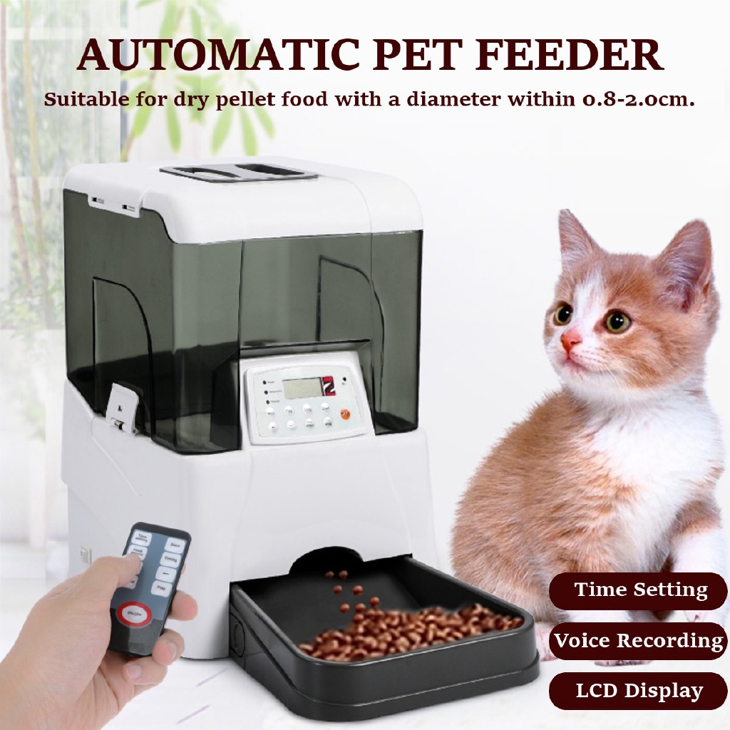 Automatic Pet Feeder Cats Dogs Puppy Lcd Timed Voice Recording Food Dispenser Shopee Philippines