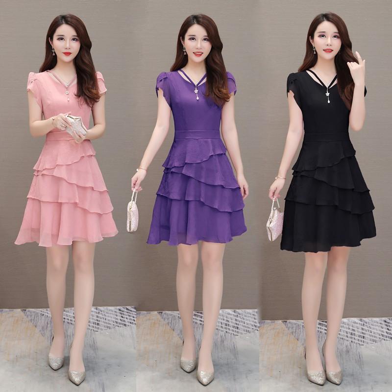 Women Chiffon Casual Dress Summer Off Shoulder Short Sleeve Mini Party Dress