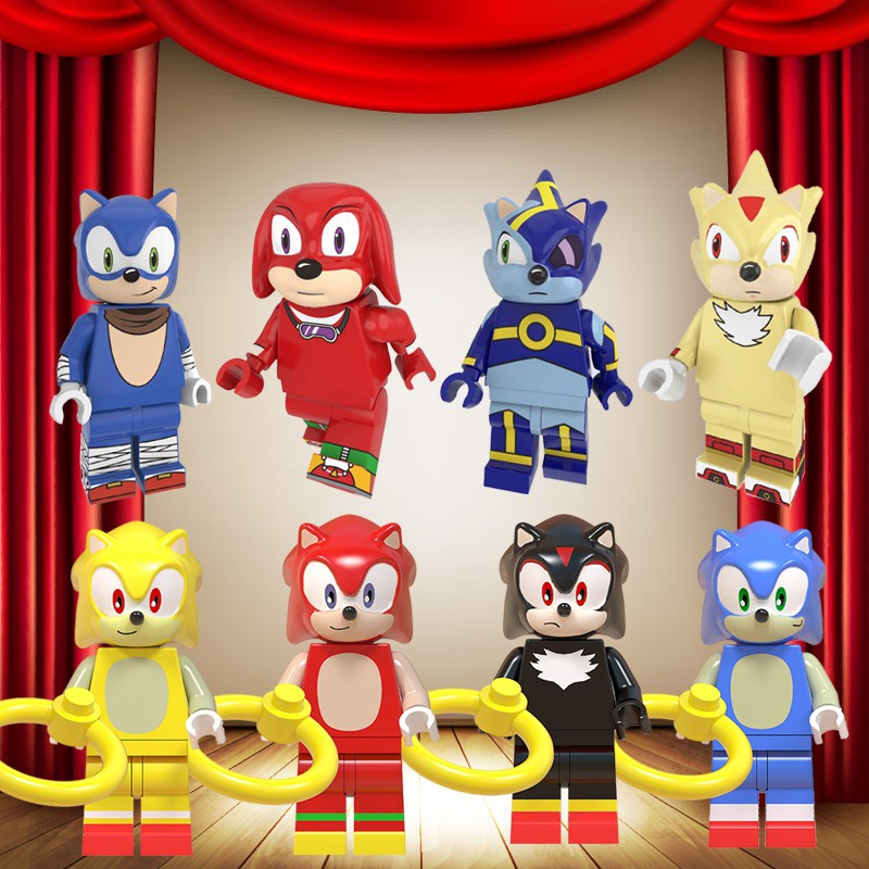 Sonic The Hedgehog Compatible With Lego Cartoon Anime Movie Game Minifigures Belle Beast Anna Cinderella Alana Ariel Fairy Godmother Rapunzel Elsa Aurora Princess Building Blocks Kids Toys Legoing Uitraman Pikachu Stitch Mickey