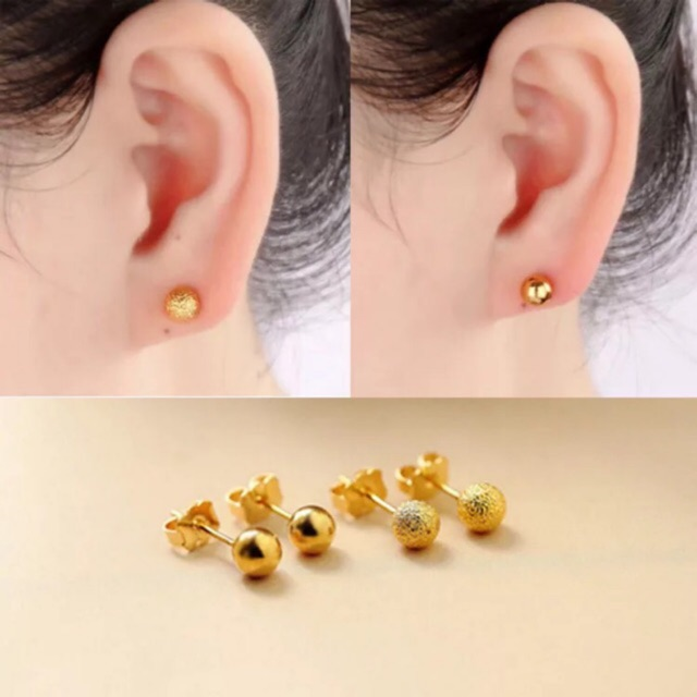 By 18k Thaiand Gold Ball Earrings With