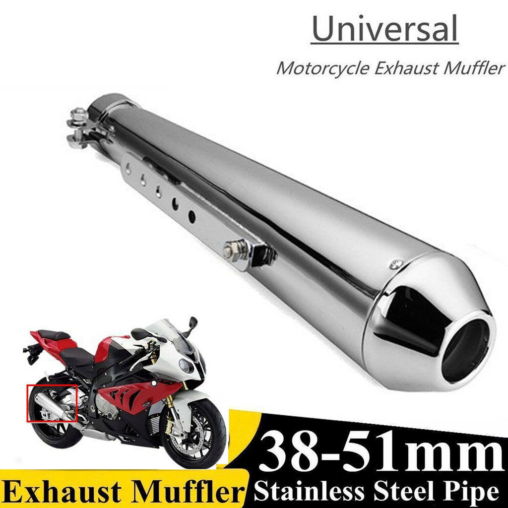 "17.5/"" Motorcycle Cafe Racer Exhaust Pipe Exhaust Pipe W//Sliding Bracket Black"