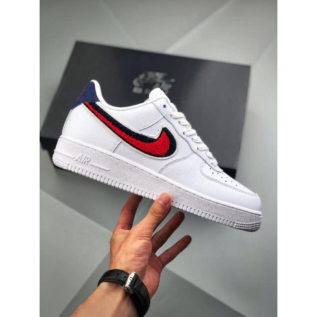 Nike Air Force 1 07 LV8 AF1 Chenille Swoosh White Shoes